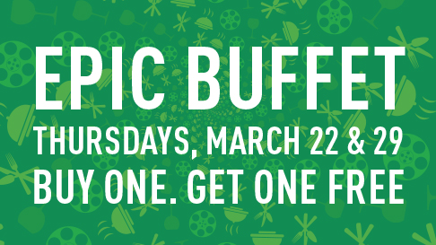 Dates for the buy one get one free special at the Epic Buffet at Hollywood Casino at Charles Town Races.