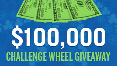 "Picture of four $100 bills with a bright green overlay above the words ""$100,000 Challenge Wheel Giveaway."""