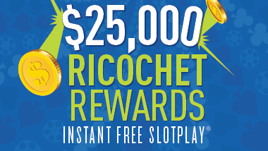 Ricochet Rewards logo with gold coins flying around