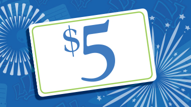 Big $5 card over blue fireworks background