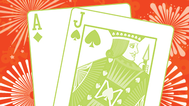 An ace of diamonds and a jack of spades with a green filter over a red fireworks background