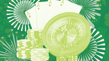 Various gaming items such as cards, roulette wheel, and chips over a fireworks background with a green filter