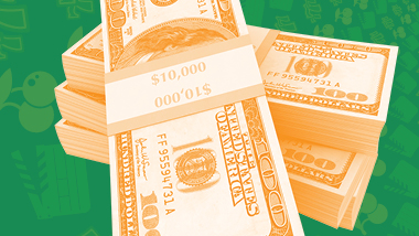 Forty thousand dollars in ten thousand dollar stacks made up of one hundred dollar bills piled ontop of each other with an orange filter over a green swirling background