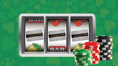 Slot machine reels showing three Marquee Rewards cards with three stacks of poker chips on the right side.
