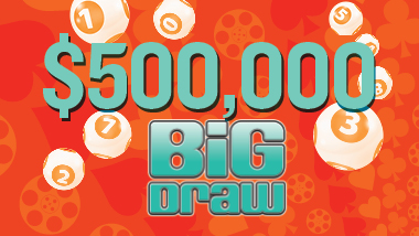 $500,000 Big Draw Giveaway is spelled out in teal on an orange background. Lottery balls are scatted behind the text.