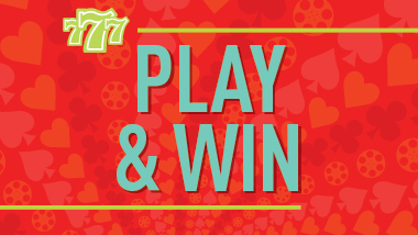 Play & Win spelled out in teal on a red background with three lucky sevens in the top left corner.